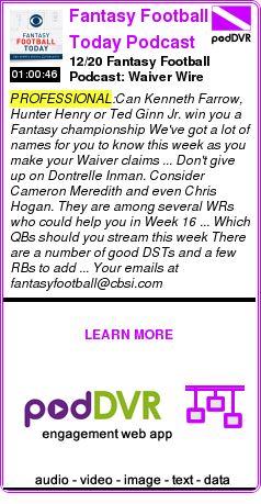 #PROFESSIONAL #PODCAST  Fantasy Football Today Podcast    12/20 Fantasy Football Podcast: Waiver Wire    READ:  https://podDVR.COM/?c=c0835b7e-6d29-5616-7031-29a35109ab53