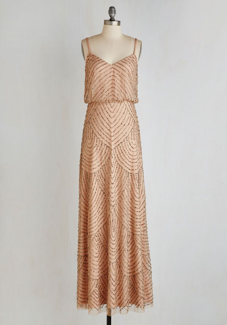 Calling All Romantics Dress - Tan, Beads, Scallops, Special Occasion, Vintage Inspired, 20s, Maxi, Spaghetti Straps, Long, Wedding, Bridesmaid, Woven, Best