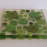 Large Button Square Coaster - Green - £10