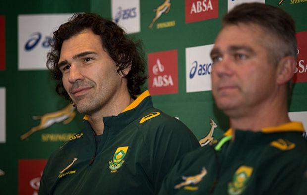 Springbok captain Victor Matfield and coach Heyneke Meyer