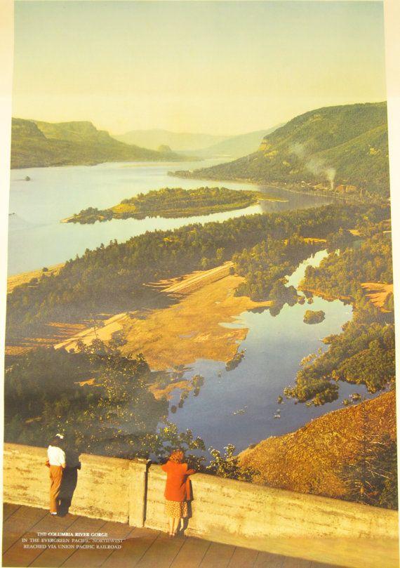 Original Vintage Columbia River Gorge Union Pacific by HodesH