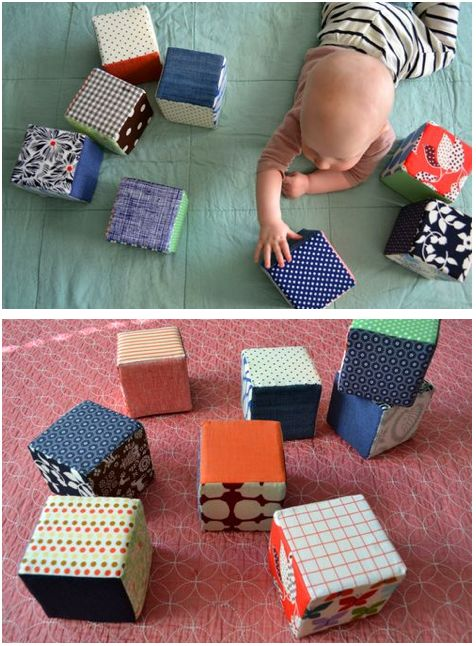 Handmade Babyblocks - make these with various textured fabrics