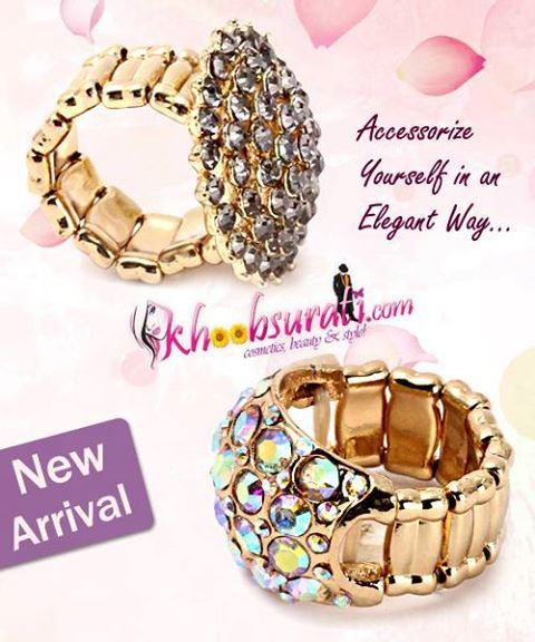 Elegant Stone Studded Rings are must-have in your collection.These stylish and chic pieces of accessories looks great when teamed with your ethnic or western outfits.   To buy grey ring: http://khoobsurati.com/khoobsurati/greyish-stone-studded-ring-grey To buy golden: http://khoobsurati.com/khoobsurati/dazzling-stone-studded-golden-ring