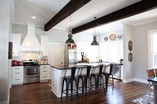 joanna gaines - white kitchen- kitchen light fixtures -  the interior color is Sherwin Williams Silver Strand. HGTV - magnolia homes - kitchen makeover - kitchen renovations - kitchen updates