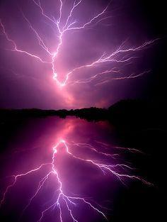 ~~Cloud to Cloud Lightening ~ lightening bolt splits the sky, Chickahominy River, Virginia by Tim Scullion~~