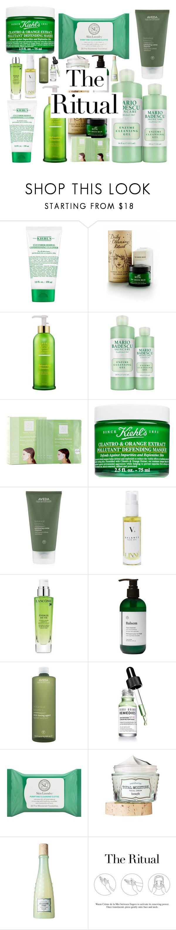 """The Ritual"" by cutting-life-away on Polyvore featuring beauty, Kiehl's, MOA Magic Organic Apothecary, Tata Harper, Mario Badescu Skin Care, Dermovia, Aveda, Linne, Lancôme and Balsem"
