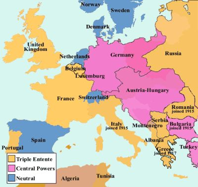 Alliances were a large part of World War One. The Triple Alliances consisted of Germany, Austria- Hungary and Italy. Another alliance group was the Triple Entente which consisted of Britain, France and Russia.