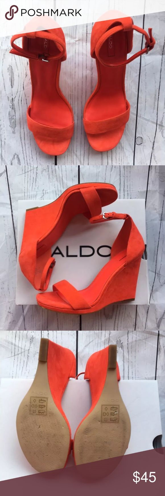 """Aldo Elley orange wedges Suede orange strap ankle wedges. Heel 4"""". Worn only ones. P.S. I'm only selling because I can't walk in them. But I very much love them. 😒😒😒😒 Aldo Shoes Wedges"""