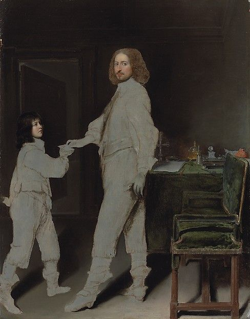 Attributed to Gonzales Coques | Portrait of a man, full-length, handing a letter to a boy, in an interior (The Young Messenger) | The Met