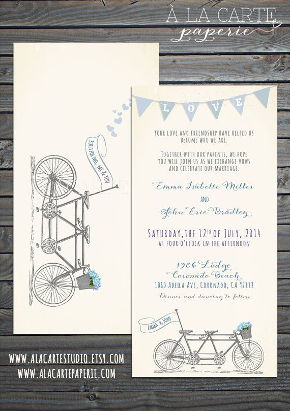 Tandem Bike Wedding Invitation Suite  Invitation by alacartestudio