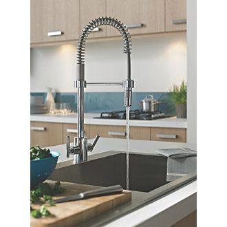 Bristan Artisan Pull-Out Mono Mixer Kitchen Tap Chrome | Pull Out Kitchen Taps | Screwfix.com