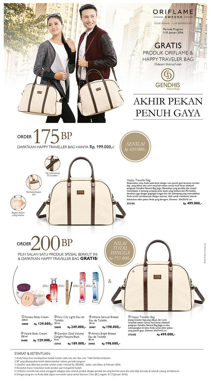 """Periode Progrm 1-31 Jnuari 2016. Gratis Produk Oriflame & Happy Traveler Bag yg didesin eksklusif oleh """"GENDHIS Natural Bags"""""""
