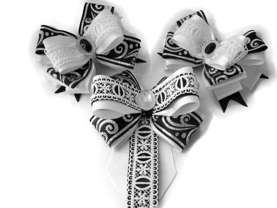 Black White hair bows brooch tie set. School bows от SummerForYou