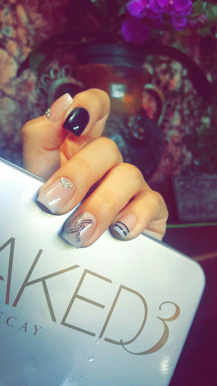 Nails, natural, dark, short, gelish,