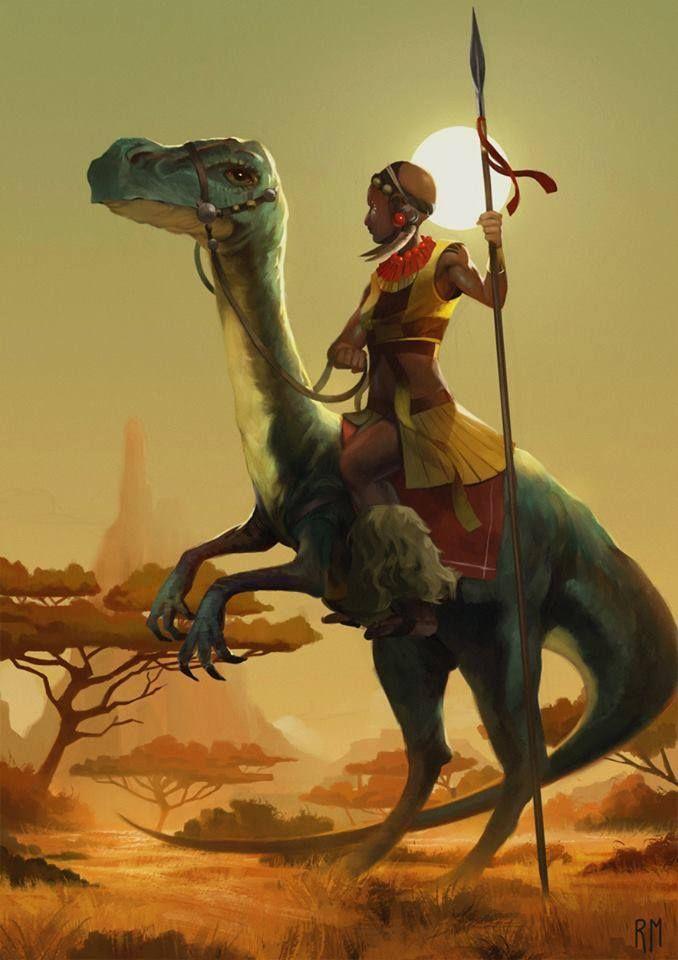 Black girls riding dinosaurs. #hereforit.  A Namu warrior by Rodrigo Mendez