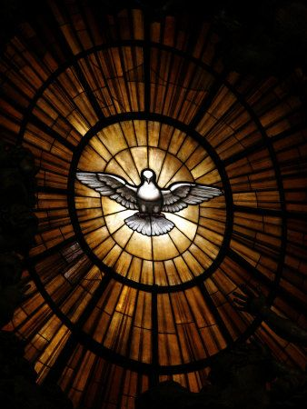 Stained Glass Window in St. Peter's Basilica of Holy Spirit Dove Symbol, Vatican, Rome, Italy by Godong. Photographic print from Art.com.