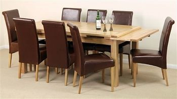 6ft x 3ft Solid Oak Extending Dining Table + 8 Brown Leather Scroll Back Chairs