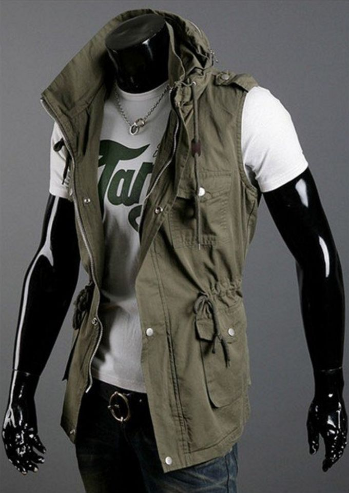 https://www.his.boutique/collections/hoodies/products/double-collar-sleeveless-hoodie - DOUBLE COLLAR SLEEVELESS HOODIE - This double collar sleeveless hooded vest is devastatingly cool, rugged and chic. It's like urban wear that is ready for an adventure.