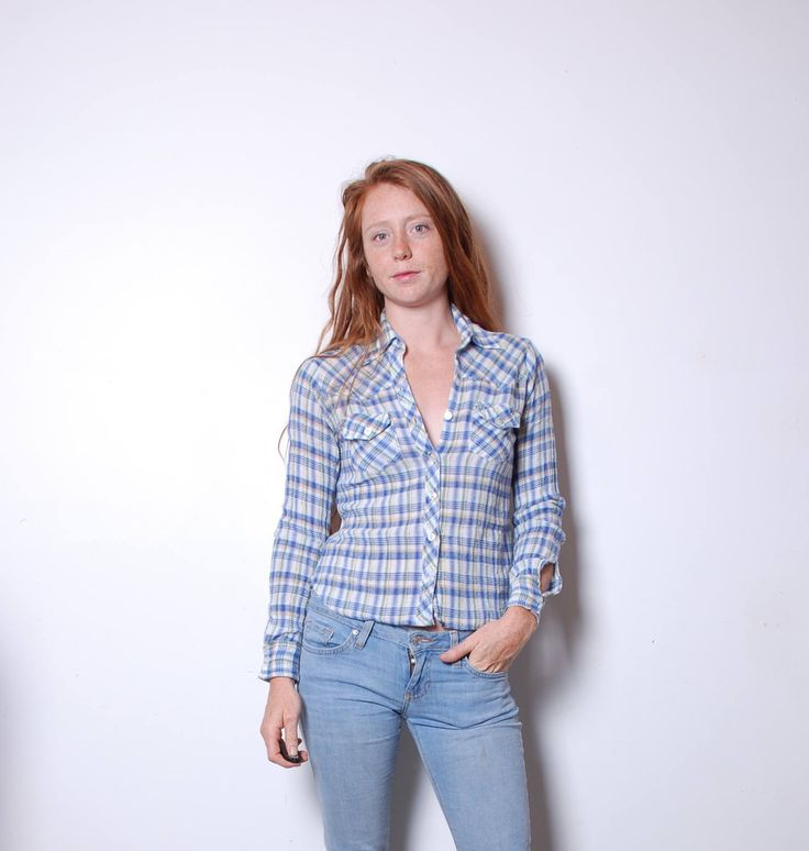 70s small plaid button up light blue shirt top blouse womens vintage clothing long sleeve boho rugged lumberjack Indian cotton tee by furhatguild on Etsy