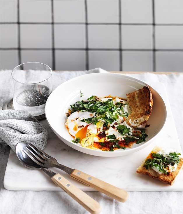 Poached eggs with yoghurt and aleppo-pepper butter