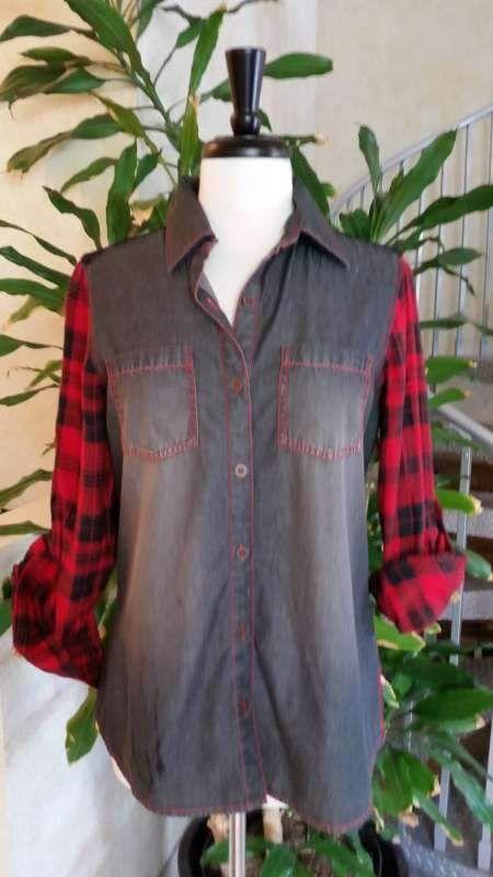 Bleu Bayou - A1705 - Black Denim/red Plaid Shirt W/lace Back Yoke