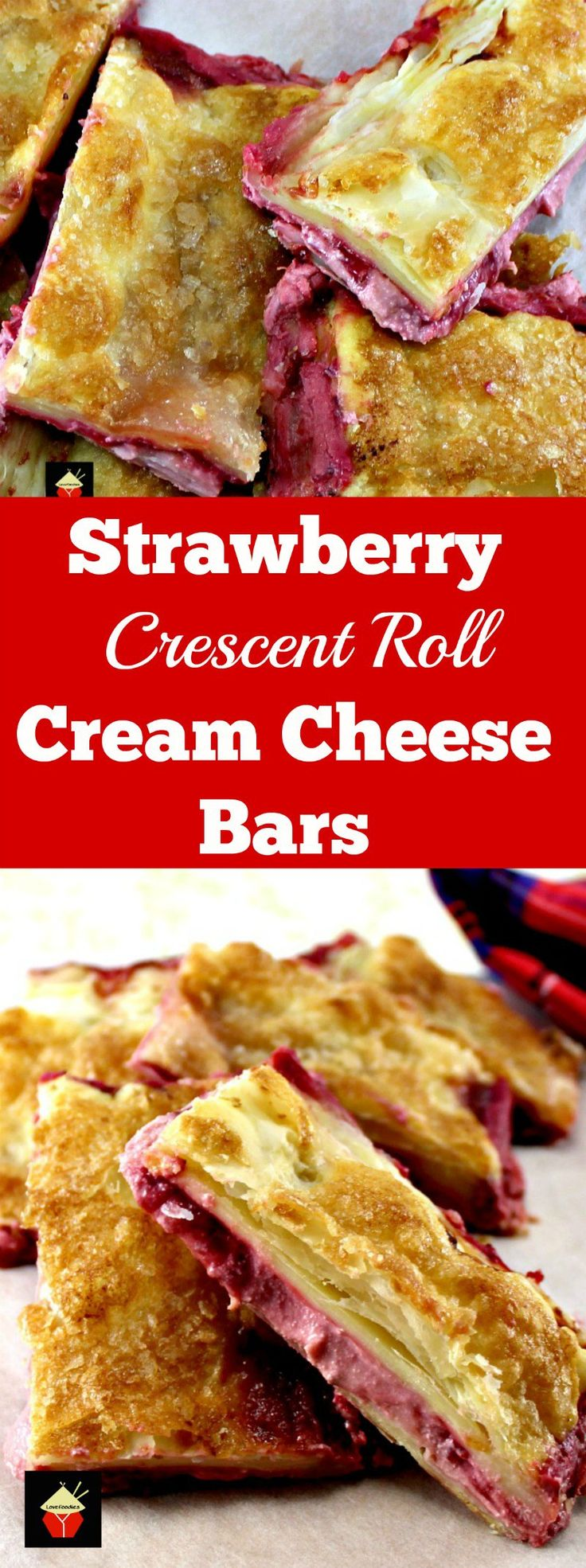 Strawberry Crescent Roll Cheesecake Bars. An incredibly easy and fuss free recipe with cream cheese and strawberry filling sandwiched between layers of pastry. This tastes amazing! | Lovefoodies.com