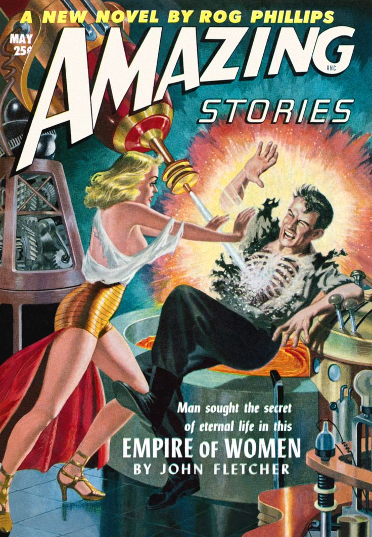 AMAZING STORIES | vintage science fiction pulp art cover