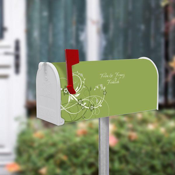 US Mailbox Standfuß Silber mit Motiv Grüne Blüten von banjado via dawanda.com