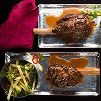 Manischewitz-Braised Lamb Shank from Einat Admony, Balaboosta, New York City    Read more: http://www.tastingtable.com/entry_detail/chefs_recipes/14795//Manischewitz_Braised_Lamb_Shank.htm#ixzz2dxfB1kW5