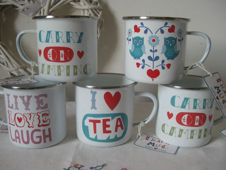RETRO ENAMEL CAMPING MUG KITSCH 4 DESIGNS - PICNIC FESTIVAL VINTAGE QUIRKY GIFT in Sporting Goods, Camping & Hiking, Cooking Supplies   eBay