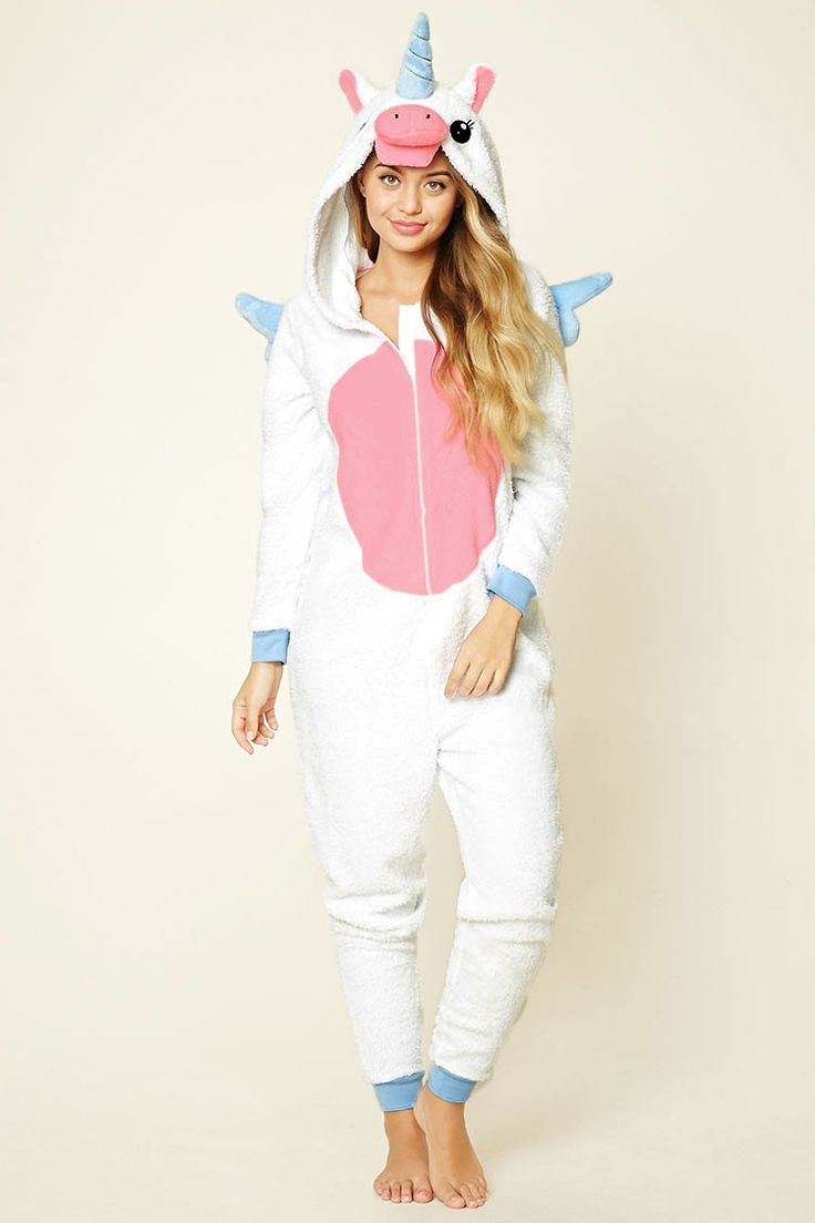 This plush hooded jumpsuit features an embroidered unicorn design on the hoodie, protruding ears, horn, stitched angel wings on the back, a zipper front, long sleeves, and contrast trim.