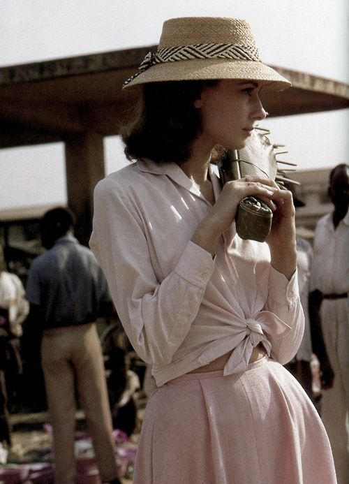 Audrey Hepburn photographed by Leo Fuchs during the filming of The Nun's Story, 1958.