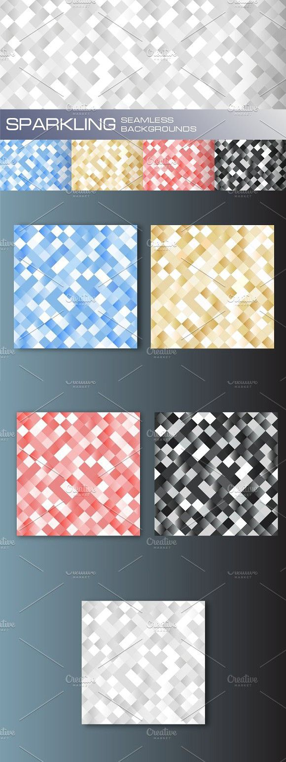 5 seamless sparkling backgrounds. Patterns. $3.00