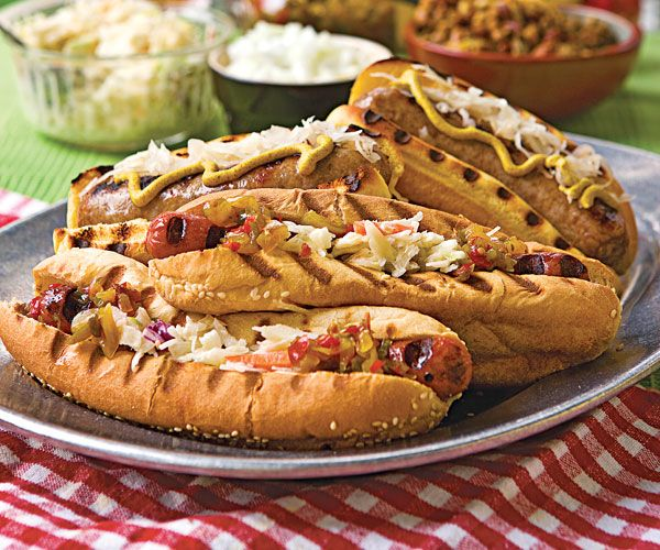Bratwursts simmered in beer, grilled. #football #food