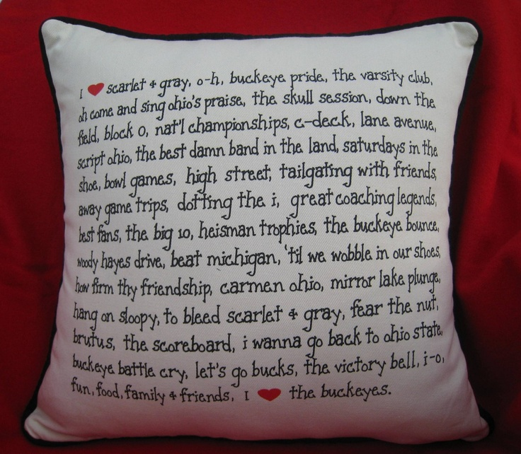 Embroidery Design Group - I Love Ohio State Pillow, $72.00 (http://edg.mybigcommerce.com/i-love-ohio-state-pillow/)