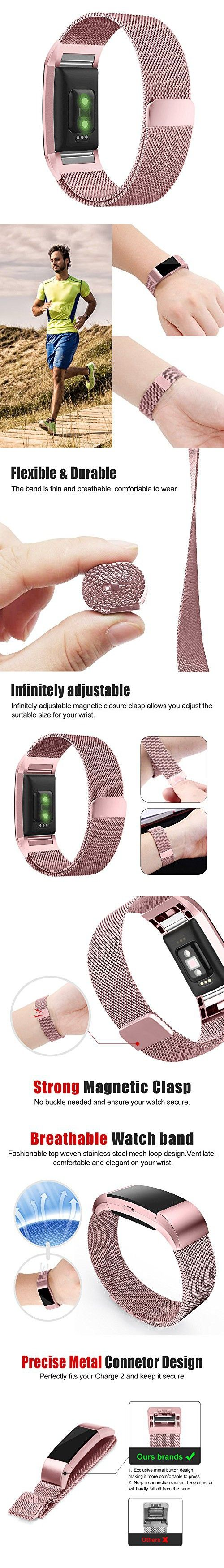 Fitbit Charge 2 Band, UMTELE Milanese Loop Stainless Steel Metal Bracelet Strap with Unique Magnet Lock, No Buckle Needed for Fitbit Charge 2 HR Fitness Tracker Pink Gold Small