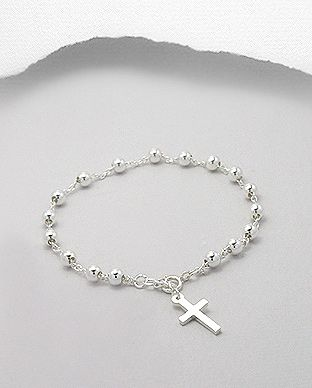 Beautiful 925 Sterling Silver Bead and Cross Bracelet -  http://lily316.com.au/shop/bracelets/sterling-silver-ball-and-cross-charm-bracelet/