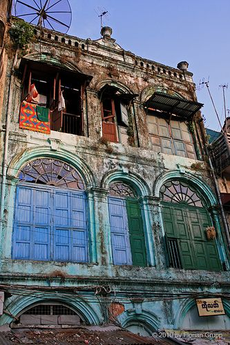 Yangon old colonial style building