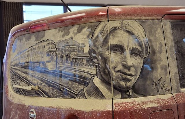 Artist Scott Wade creates art on dirty car windows/screens.