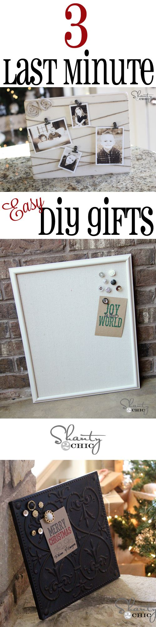 3 Last Minute DIY Gifts!!  So easy and cheap!! Shanty-2-Chic.com