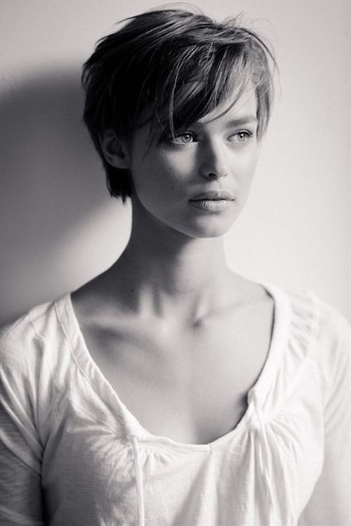 Long pixie cut with bangs.