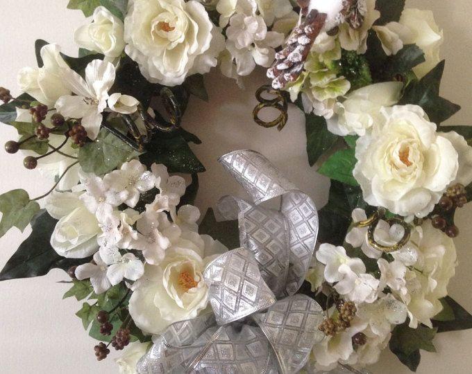 Boda guirnalda, guirnalda de aniversario elegante, boda ducha corona, pared que cuelga, hermoso regalo