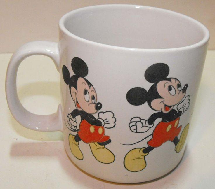 Vintage Mickey Mouse Walking All Around Coffee Mug Walt Disney Korea HTF #DisneyKorea