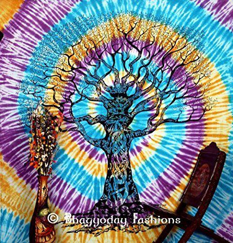 Indian Tie Dye arbre de vie indien Tapestries. Décoration murale à suspendre Motif Bohemian, dortoir Motif tapisseries Tie Dye, Pyshedlic Hippie style tapisserie Motif pissenlits, reine Par Bhagyoday 86 x 94 BhagyodayFashions https://www.amazon.fr/dp/B00WO2LGNW/ref=cm_sw_r_pi_dp_IIUexb7QYD7XX
