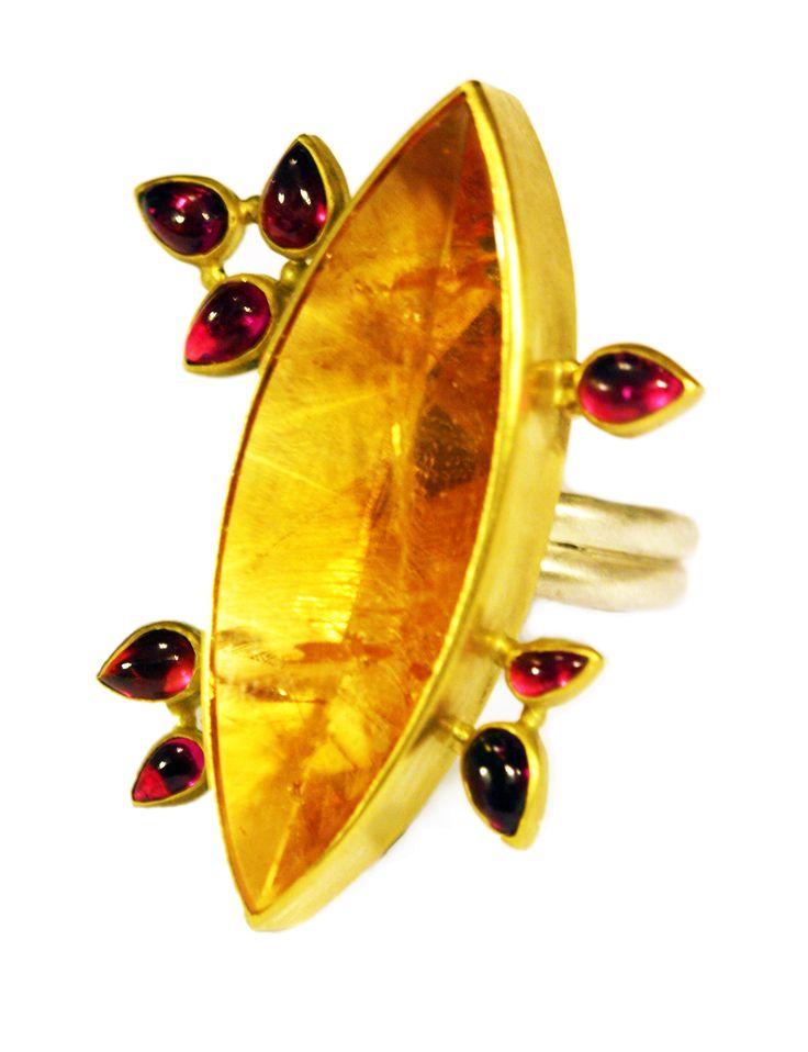 Citrine Burst Ring by Natasha Wozniak.