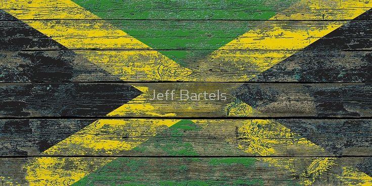 Flag of Jamaica Rough Wood