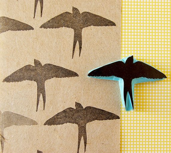 Swallow bird silhouette, rubber stamp, hand carved stamp, bird stamp, Stamping