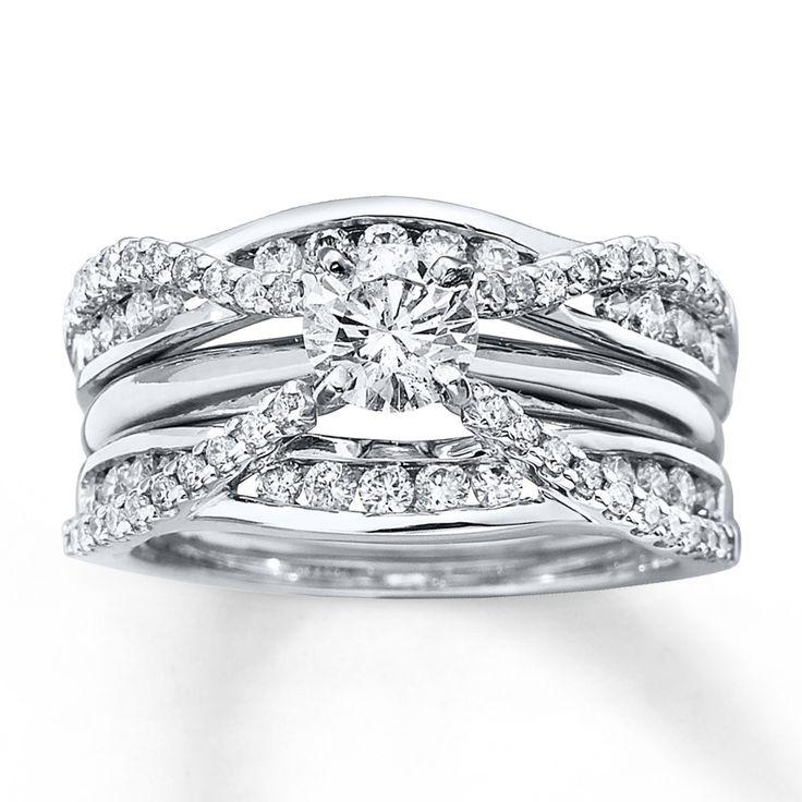 Diamond Enhancer Ring 3/4 ct tw Round-cut 14K White Gold