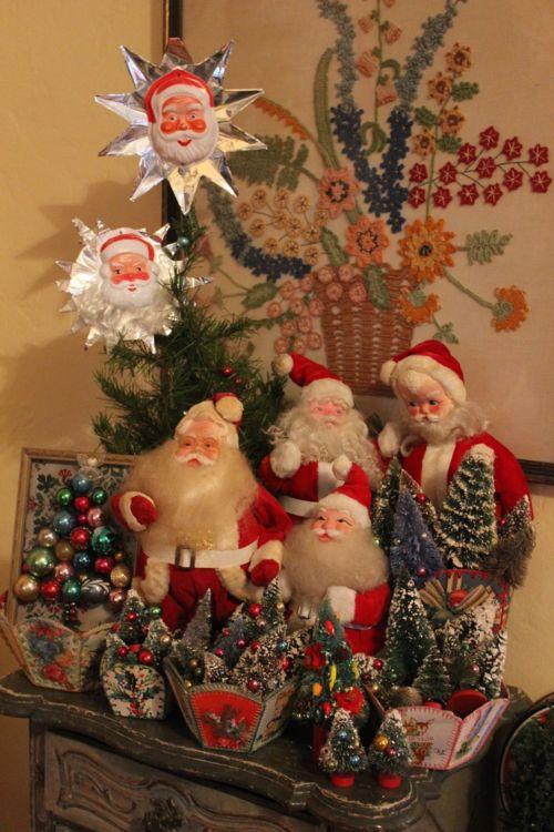 Santas and bottle brush trees.