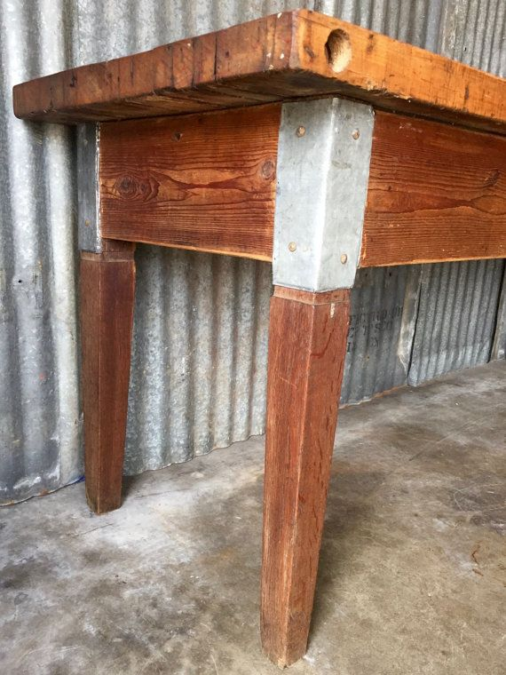 vintage butcher table butcher block dining table by surgeatx